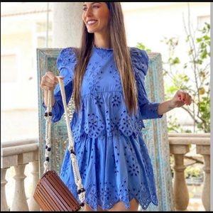 NWT Zara blue eyelet mini dress xs